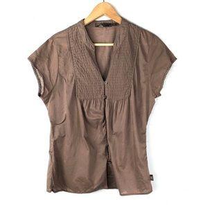 Prana Blouse Top Brown Large Button Down